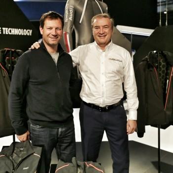 Giulio Cesareo e il campione Stephan Eberharter ad ISPO 2016 per la presentazione della linea Colmar di sportswear al grfene